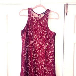 Red Dress - Lace Overlay Racer Back